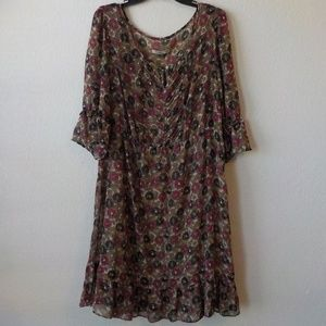 Old Navy Floral Dress 20 with Under Slip Beige